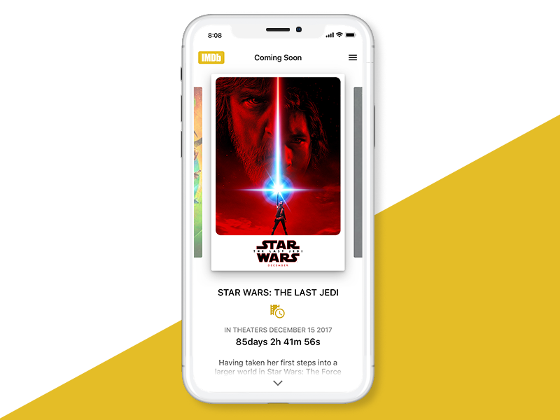 DailyUI #14 Countdown poster film mock wars star imdb movies timer iphone iphone x countdown