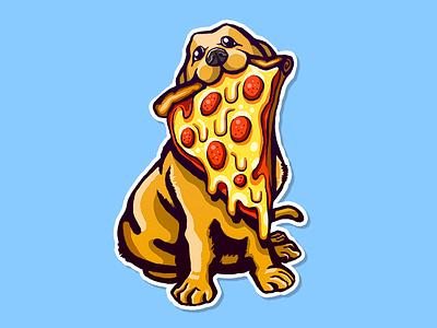 Pizza Dog! stickermule contest illustration cute doggo dog sticker pizza