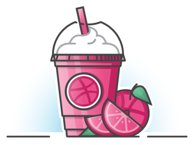 Don't Drink the Kool-frap drink fruit slice fresh juice pink frappuccino frappe sticker stickermule playoff dribbble