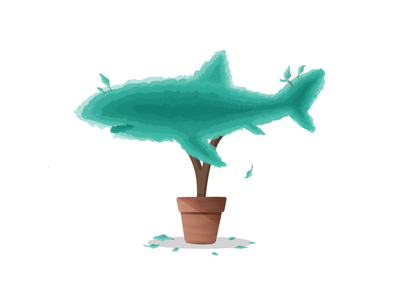 How about some🦈 Topiary pot hedge pruning shrubs apple pencil topiary shark illustration