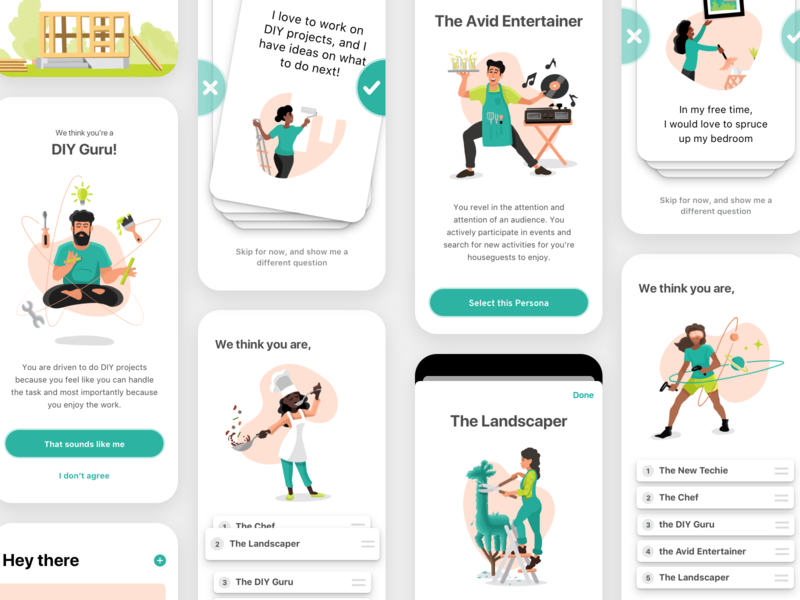 Archetype Profiles illustrations apple pencil ui cards ui cards sorting quiz questionnaire test personality profile archetype