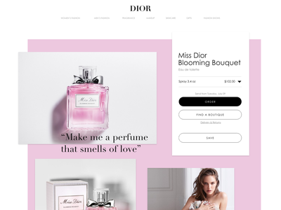 Miss Dior Blooming Bouquet Concept prototype concept ui design adobe xd adobexd uidesign