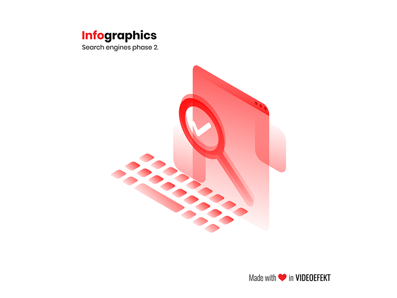 Infographics - Successful search infographics layered flat isometric semi-transparent gradient red