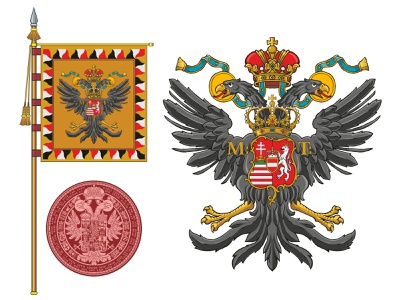 Coat of arms, flag and the seal of the Holly Roman Emperor heraldic design personal insignia family crest personal crest personal logo coat of arms emperor heraldic crown royal eagle heritage crest flag logo seal heraldry