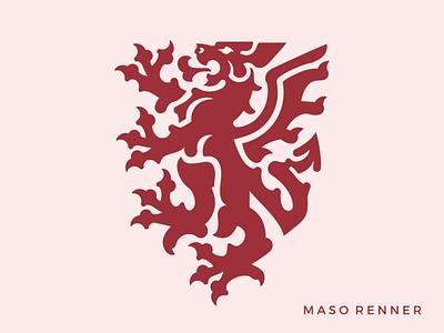 Maso Renner logo modern crest modern heraldry medieval middle ages mythology logo dragon coat of arms dragon crest ornamental logo vintage logo design beast logo red dragon animal logo griffin shield heraldry dragon