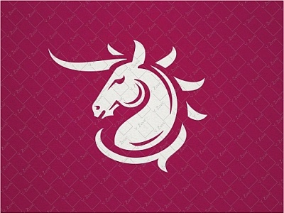 Unicorn Logo flat simple white elegant animal horn horse unicorn