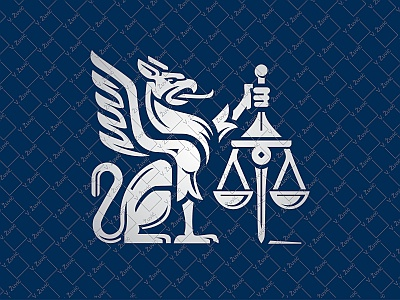Gryphon Law Logo eagle scale silver heraldry lion justice animal gryphon attorney lawyer buy logo logo for sale
