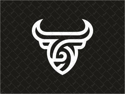 Abstract Bull Logo horn logo for sale crest stripes shield bull