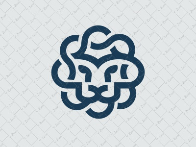 Simple Lion Logo mane head circular flower flat linear simple logo for sale lion logo