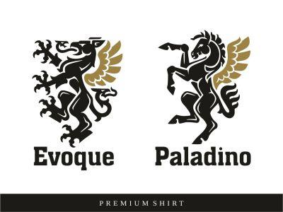 Manretti brand - premium shirts winged horse crest shield logo bull logo lion logo horse griffin logo heraldry