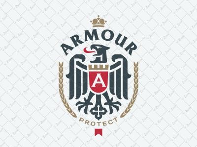 Vintage Heraldic Eagle Emblem shield heraldry laurel fortress logo vintage logo shield logo crest logo eagle