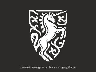 Unicorn logo design for mr. Bertrand Chagney, France fleur de lys animal logo coats of arms unicorn shield logo fleur de lis logo heraldry logo horse logo crest logo unicorn logo unicorn