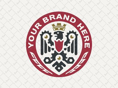 Mechanical Eagle Logo heavy industry shield heraldry eagle eagle crest engineering machine industry engine mechanical eagle logo engineer logo eagle