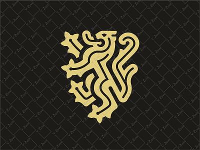 Modern Heraldic Lion Logo trust logo tradition strength power manly logo animal logo heraldry linear lion shield heraldic crest modern lion lion logo