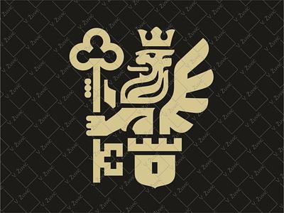 Key Lion Logo logo for sale bank logo tower logo castle logo lock crown heraldic lion protection logo guardian winged lion key logo lion holding key lion logo