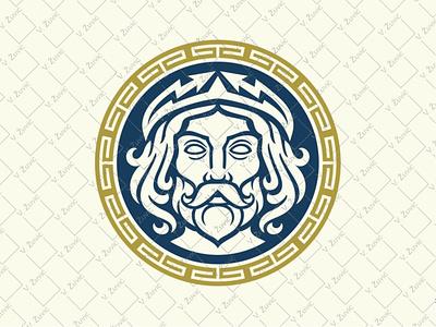 Zeus Jupiter Logo meander logo thunder logo zeus logo for sale circular logo greek ornament logo greek god logo jupiter logo zeus logo