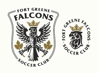 Falcons soccer club logo falcon head logo football logo crowned falcon logo heraldry logo shield logo soccer club logo sports logo falcon logo