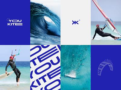 YouKite | Branding logomark blue typography typo wave font logotype cap tshirt moodboard windsurf kite wing surf ocean kitesurfing kitesurf branding logo