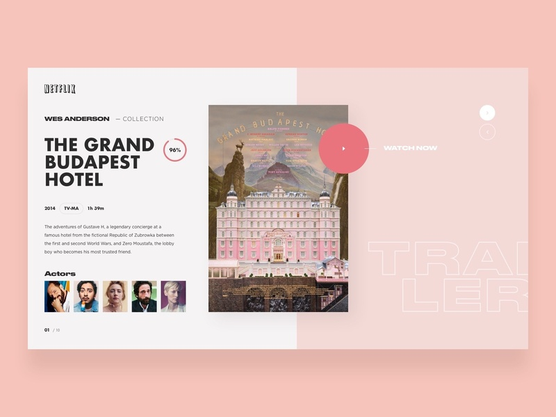 Netflix Collection — The Grand Budapest Hotel ui design play ui trailer cinema collection pink poster movie website wes anderson the grand budapest hotel netflix