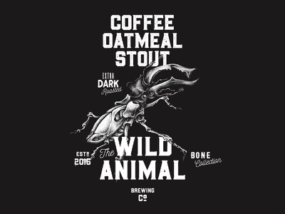 Coffee Oatmeal Stout - Illustration | The Wild Animal (2/3) wild animal packging illustration design craft beer coffee oatmeal stout