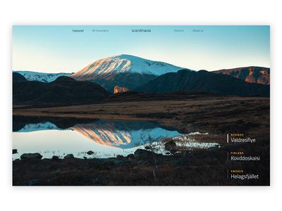 Scandinavian Mountains (9/15) website landing page mountains scrolling image parallax transitions animation weeklyuichallenge