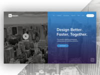 Invision theme redesign - landing page black and white video web design ui theme signup redesign protoype landing banner invision