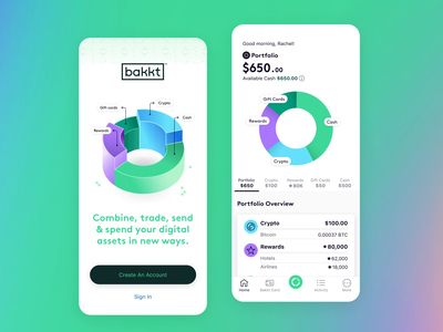 Dovetail x Bakkt fintech app mobile ux ui design
