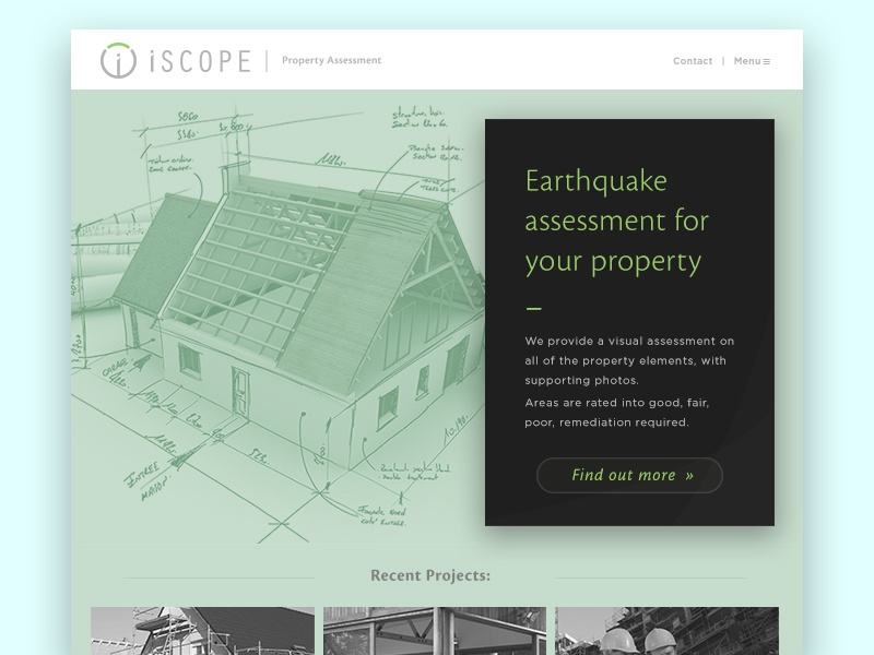 iScope Property Assessment Website WIP green construction building property design web