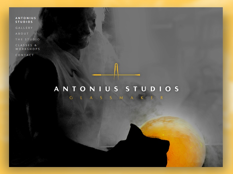 Antonius Studios Website Launch portfolio glassblower glass ui brand logo design website web