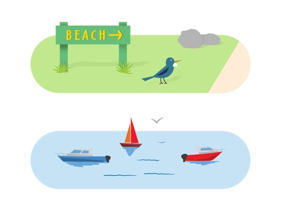 Beach/Water Life vector illustration boats grass rock bird lake ocean beach