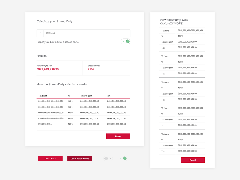 Tax Calculator / Responsive Table design ui tax financial table calculator
