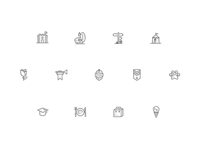 Medieval meets internet icons set ui ice cream icons website medieval statue castle