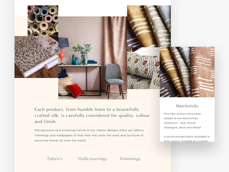 Interior + Textile Designers Web Layout london layout website design textile interior