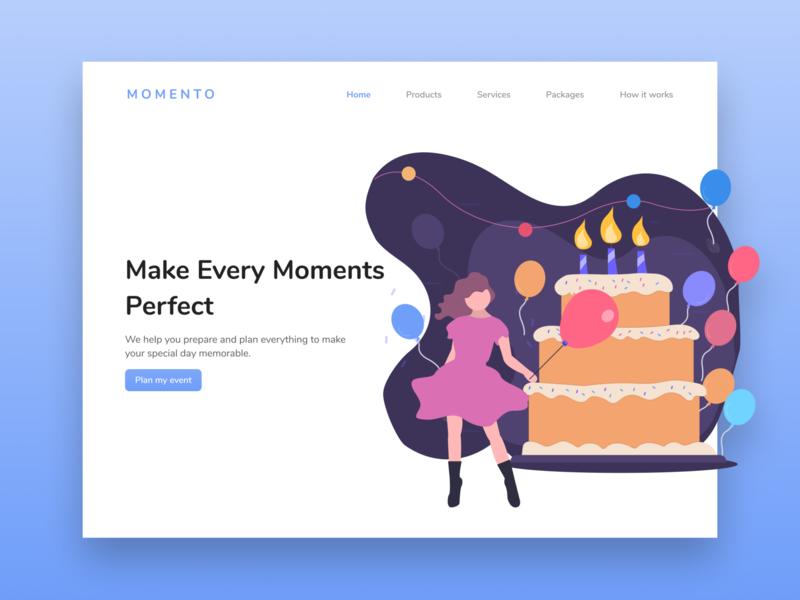 Momento: Event Planner web branding ui illustration landing page website