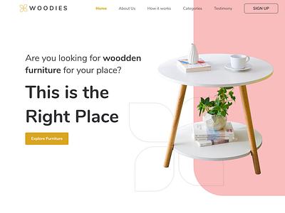 Woodies - Furniture Online Shop Landing Page web landing page website daily ui design ui