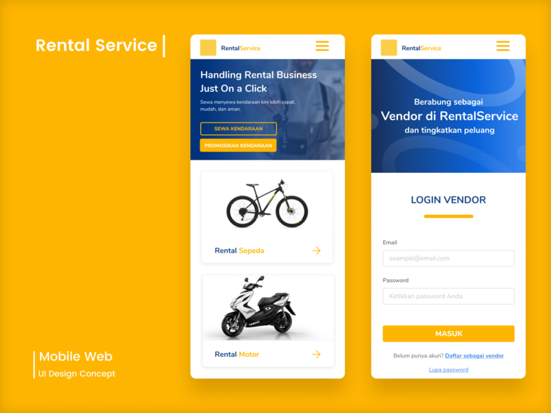 Rental Service Mobile Web App landing page design rental rental app design mobile web app