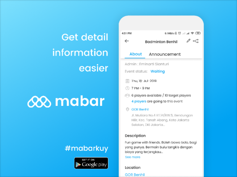 Mabar Event Details Page sport