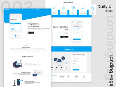 Landing Page Design daily ui illustration web mabar landing page website design ui