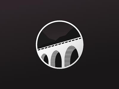 Bridge concept lineal logo black and white road nigth pass security bridgering bridge