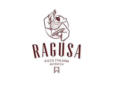 Ragusa Pizza bufon pulcinella illustration classic vintage napoles italian pizza