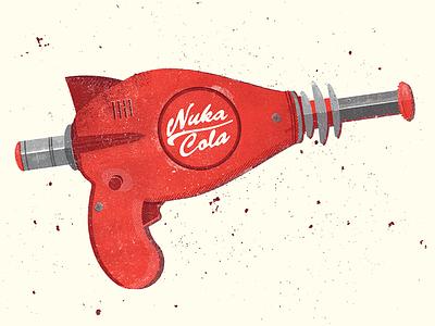 Thirst Zapper fallout 4 video game nuka cola water pistol ray gun texture colour weapon gun doodle illustration design