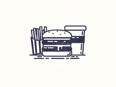 Burger Me! food meal drink fries burger texture line illustration design