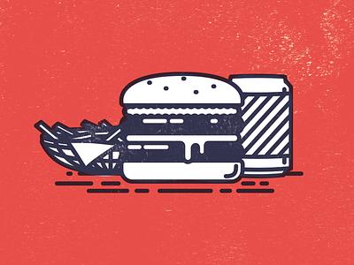 Good Burger texture meal line drink chips fries illustration design burger