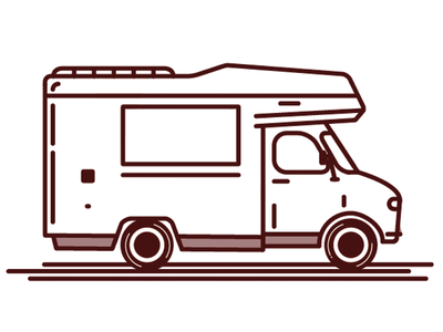Camper vehicle truck van camper pizza logo lines illustration design branding