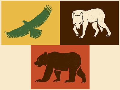 Beasts work in progress whip texture colour eagle bear wolf animals illustration design