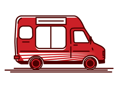 I still got you ice cream ice cream vehicle pizza logo lines illustration design truck van branding