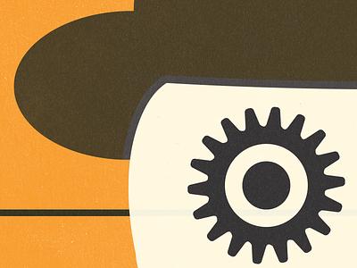 Clockwork texture design illustration dead skull idea silly orange clockwork