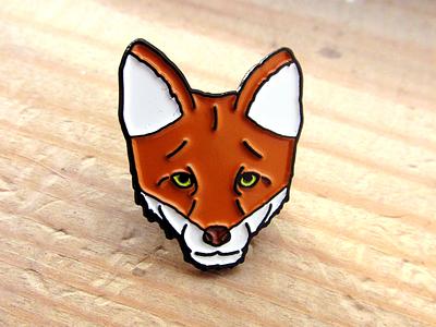 Fox Pin fox badge design pin design pin badge illustration design