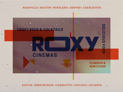 Roxy Cinemas Brand Explorations logo typography textures pixels projection light film theatre theater movies branding