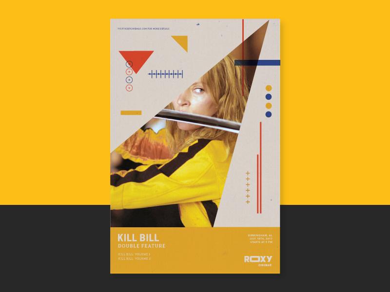 Kill Bill Double Feature theater film shapes branding movie poster kill bill